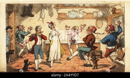 Un valet francés jugando el fife en la cocina de un albergue en Amiens. La camarera, cocinera, marmitón y maitre d'hotel danza. La danza en Amiens. Copperplate Handcolored grabado por Thomas Rowlandson de Laurence Sterne es un viaje sentimental por Francia e Italia, Thomas Tegg, Londres, 1809.