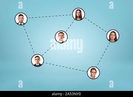 Iconos de redes sociales conectadas por líneas punteadas sobre fondo azul.
