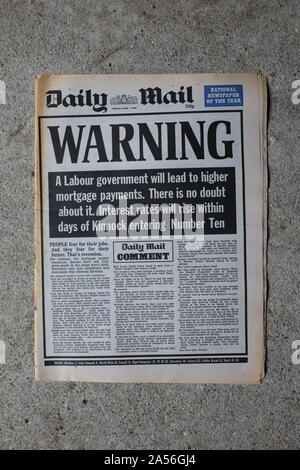 El Daily Mail advertencia contra la elección de un gobierno laborista dos días antes de las elecciones generales de 1992 del Reino Unido.