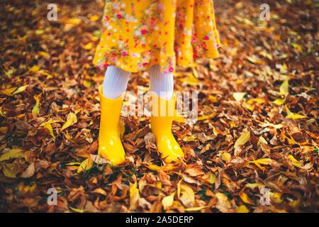 Fundas amarillas de niña y caído coloridas hojas en otoño park .
