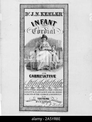 Etiqueta de patentes de medicina del Dr. J.N. Keeler es cordial y carminativo medicina infantil que muestra una mujer dándole el medicamento a su niño. Fecha 1846