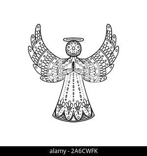 Navidad Doodle Angel Ilustración Del Vector Imagen