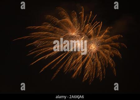 Impresionante de fuegos artificiales de oro contra el telón de fondo del cielo nocturno