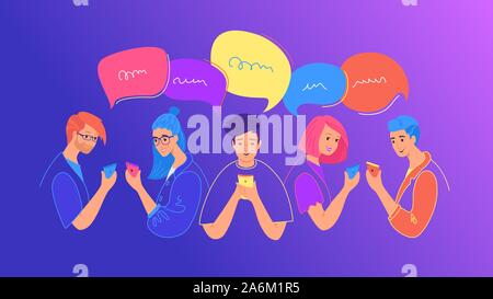 Los medios sociales de comunicación y chat concepto flat ilustración vectorial. Los adolescentes varones y niñas utilizando mobile smartphone para chatear, escribir mensajes de texto, comentarios i