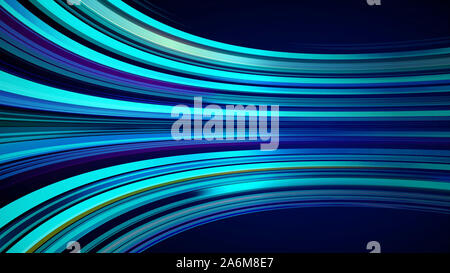 Color azul de fondo abstracto con animación moviendo de líneas de red de fibra óptica. Parpadeo de magia resplandeciente líneas de vuelo. Animación de bucle ininterrumpido. Brillantes rayas gruesas de volar.