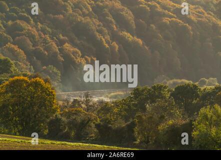 Colores de otoño en el Valle de Wye en Bigsweir Bridge. Valle de Wye, Monmouthshire, Gales.