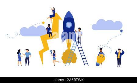 Business Analytics, flecha en la nube de la empresa liderazgo de vectores. Las personas desafían el trabajo en equipo. Ilustración del concepto de marketing de trabajo plana. Crecimiento con cohete
