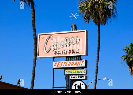 Canter judía de panadería y delicatessen cartel, 419 Fairfax Avenue, Los Angeles, California, Estados Unidos de América. Oct 2019
