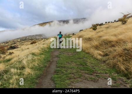 Hombre senderismo en nubes cubriendo camino de montaña en Nueva Zelanda.