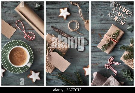 Collage de regalos artesanales en rústicos de madera oscura con decoraciones de Navidad. Antecedentes estacional disparó desde arriba. Sentar planas, vista superior, la imagen filtrada, tex