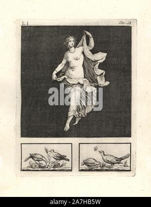 """Retira la pintura de la pared de una habitación, posiblemente un triclinium o comedor, en una casa de Pompeya en 1749. Muestra Venus, o un joven bailarín o representando a su bacchant, graciosamente bailando en un banquete de los dioses. Grabado por Tommaso Piroli Copperplate desde su propio 'Antichita di Ercolano"""" (Antigüedades de Herculano), Roma, 1789. Pintor y grabador italiano Piroli (1752-1824) publicado en seis volúmenes entre 1789 y 1807 documenta los murales y bronces encontrados en Heraculaneum y Pompeya."""
