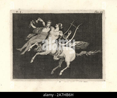 """Retira la pintura de la pared de una habitación, posiblemente un triclinium o comedor, en una casa de Pompeya en 1749. Centauress llevando un hombre joven, tocando la lira con una mano y sonidos de platillos con la otra. Grabado por Tommaso Piroli Copperplate desde su propio 'Antichita di Ercolano"""" (Antigüedades de Herculano), Roma, 1789. Pintor y grabador italiano Piroli (1752-1824) publicado en seis volúmenes entre 1789 y 1807 documenta los murales y bronces encontrados en Heraculaneum y Pompeya."""