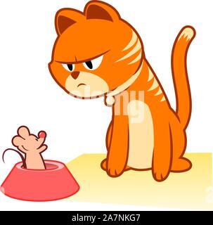 Gato atigrado capturado el mouse. Mouser, felino, Kitty, pussycat gatito ilustración vectorial. Gato atigrado con el mouse sobre el plato.