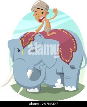 Niño Indio con turbante montando un elefante, ilustración vectorial de dibujos animados.