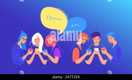 Los medios sociales chat o sondeo de opinión concepto flat ilustración vectorial. Los adolescentes varones y niñas utilizando mobile smartphone para chatear, escribir mensajes de texto, la votación en tan