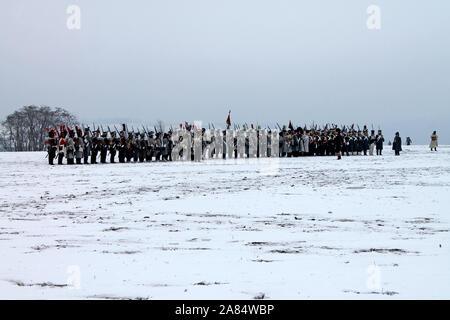 Tres emperadores reconstrucción. La batalla de Austerlitz en 1805 año. Slavkov. Republick checa. 02.12. 2018 ye