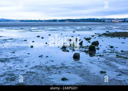 La marea baja en la ZPE de Sandymount Strand playa, luz del atardecer, las nubes reflejadas en el agua de piscinas. Dublín, Irlanda. Marea del Mar de Irlanda fuera Foto de stock
