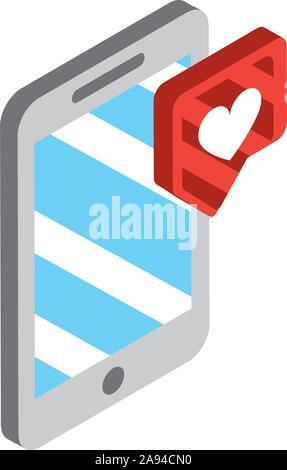 Smartphone social media chat amor icono isométrica ilustración vectorial