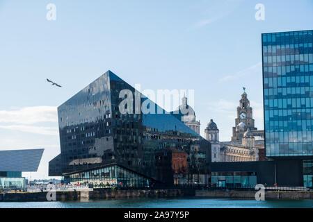 Liverpool, Reino Unido - 18 de julio de 2019: Arquitectura Moderna y clásica en los muelles de Liverpool, el puerto de Liverpool, como una gaviota vuela por