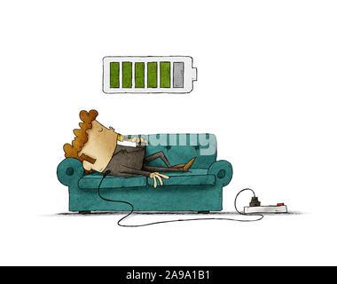 Ilustración de un empresario en el sofá está conectado a la red eléctrica mientras se recarga la energía. Concepto de recarga aislados.