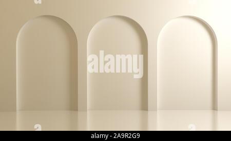 Antecedentes arquitectónicos 3d blanco con arcos y columnas.3d, 3d ilustración.