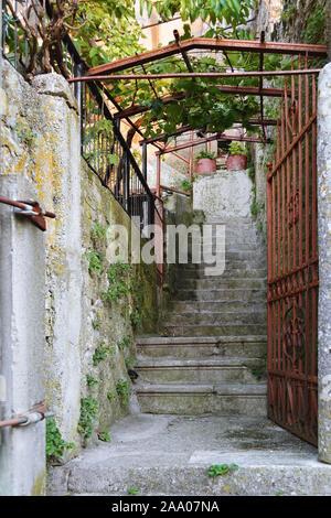 Escalones de piedra conduce hacia arriba a lo largo de paredes de piedra hermanada con ivy, detrás de una verja de hierro cubiertos de óxido.