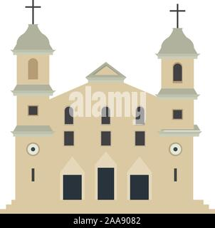 Iglesia tradicional aislado sobre un fondo blanco - ilustración vectorial