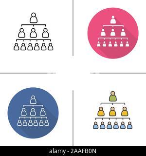 La Jerarquía De La Empresa Plana Larga Sombra Lineal Icono