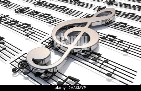 3D Render . Pentagram con brillantes notas musicales. Fondo musical