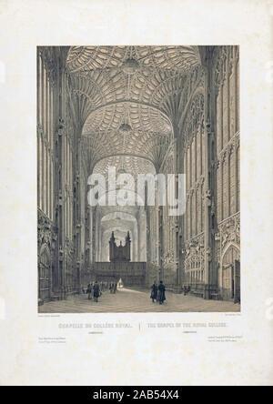 Interior de la capilla de King's College, Cambridge, Inglaterra. Después de un trabajo que data de los años 1850 por Louis Jules Arnout.