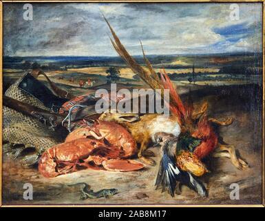 '''Still Life'' con las langostas, 1827, Eugène Delacroix, 1798-1863, Musée du Louvre, París, Francia, Europa Foto de stock