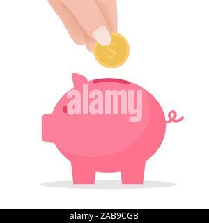 Poner mano a monedas hucha. Multitud de financiación y el concepto de ahorro. Ilustración vectorial de dibujos animados plana para sitios web y diseño de banners.