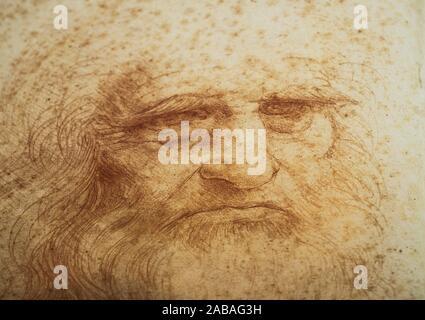 Leonardo da Vinci, el polímata italiano del Renacimiento. Autorretrato en Tiza roja, la Biblioteca Real de Turín.