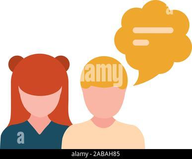 Hablando de pareja con globo de texto estilo plano diseño ilustración vectorial