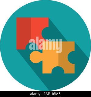 Conexión puzzles estrategia empresarial icono sombra bloque ilustración vectorial