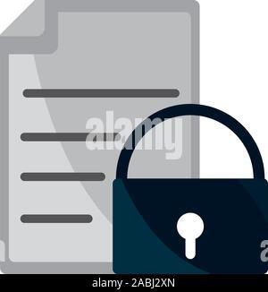 La seguridad de los documentos de propiedad intelectual copyright icono ilustración vectorial
