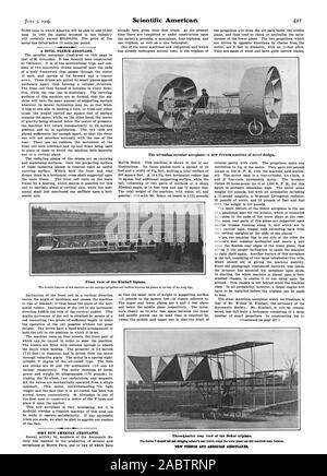 S. Vista frontal del biplano Kimball. Vista trasera de tres cuartos de la Bokor triplane. Nuevo PUNCH Y AZIRICAN AZROPLANES., Scientific American, -1909-06-05 Foto de stock