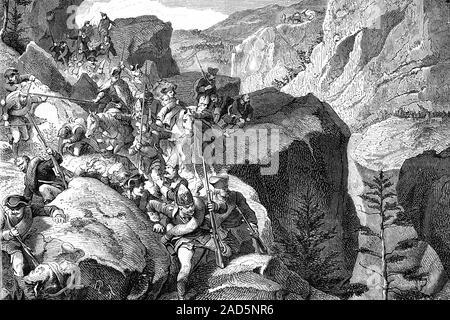 Batalla de Zurich. Las guerras napoleónicas. Ilustración de antigüedades. 1890.