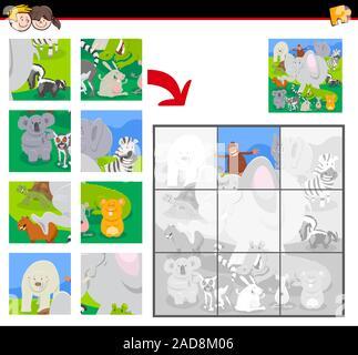 Los rompecabezas con animales de dibujos animados group