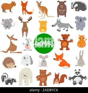 Dibujos animados personajes de animales silvestres conjunto grande