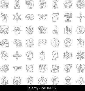 Los derechos de propiedad intelectual los iconos de línea, signos, símbolos, ilustración vectorial lineal establecida