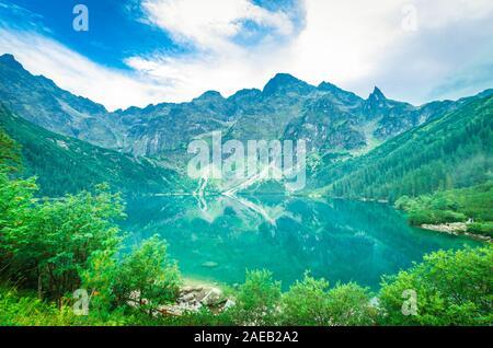 Morskie Oko, montañas Tatra, en Polonia. El Ojo del Mar Lago en Altas Tatras, Polonia lateral del macizo