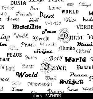 La Paz Papel Tapiz Sin Fisuras Con La Palabra Paz En Diferentes Idiomas En Espejo Imagen Vector De Stock Alamy