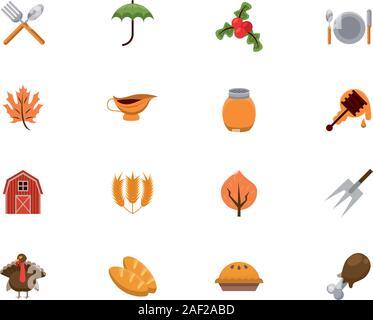 Paquete de Thanksgiving establecer iconos