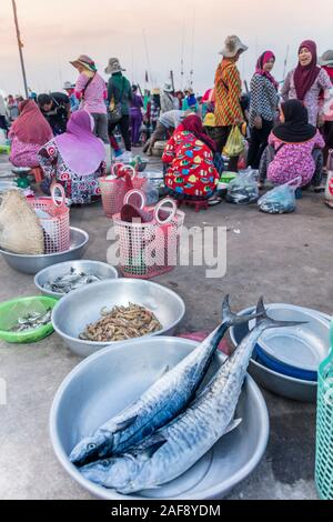 Camboya, Kampot. Cham fisher folk que vende pescado en el mercado de pescado de Kampot.