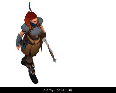 3D Render de warrior fighter mujer