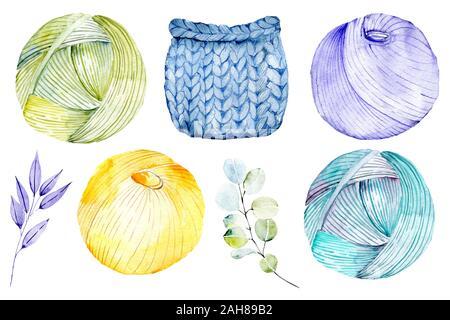 Las bolas de hilo de tejer con plantas florales. Acuarela dibujada a mano ilustración vintage - Juego de tejido aislado sobre fondo blanco. Hilo, agujas,