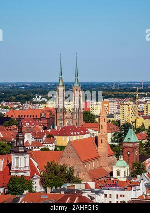 Vista elevada sobre Old Town hacia el conjunto de Ostrow Tumski District, Wroclaw, Voivodato de Baja Silesia, Polonia