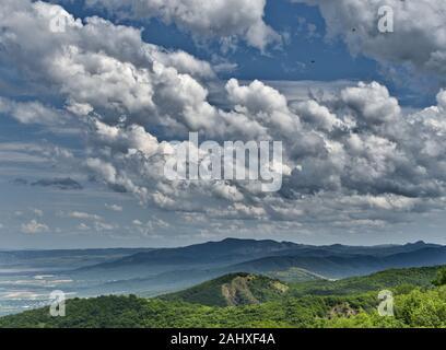 Las Golondrinas en el cielo contra un fondo de nubes blancas. Un verde paisaje de colinas con viñedos. Georgia. Espacio infinito