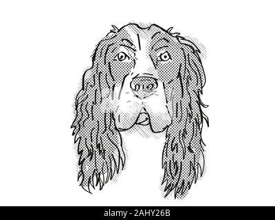 Estilo de dibujos animados Retro el dibujo de la cabeza de un Cocker Spaniel Inglés, un perro doméstico o de raza canina sobre fondo blanco aislado realizado en blanco y negro.